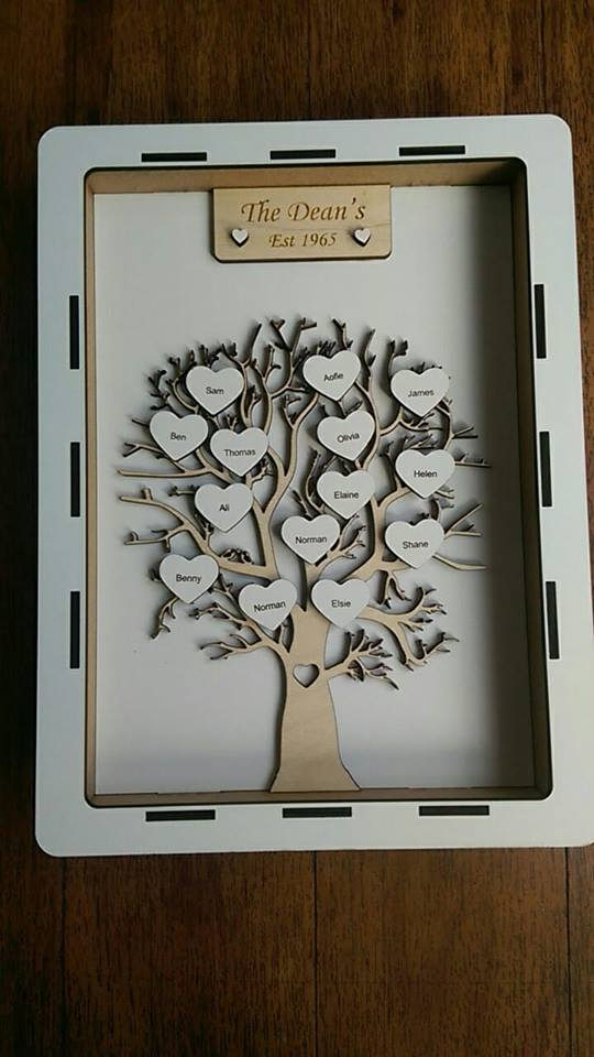 Family Tree Lasercut box with laser cut family tree and hearts.