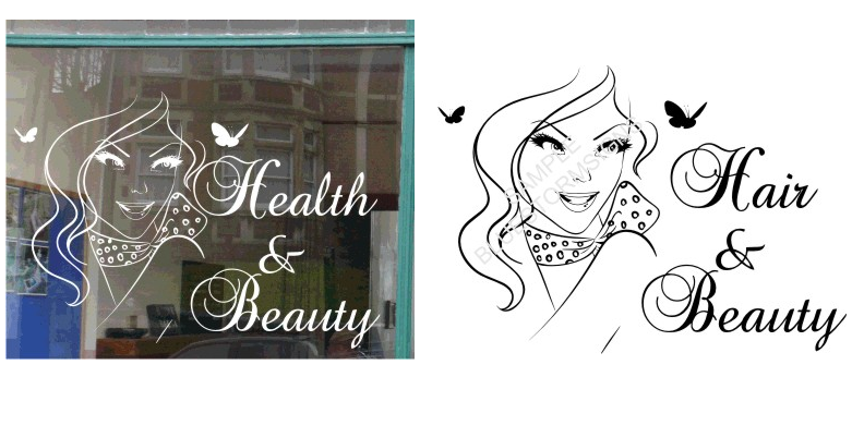 HEALTH BEAUTY SIGN SALON SHOP WINDOW STICKER WITH TEXT