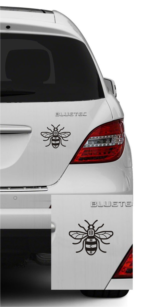 Manchester Bee With Text Decal Window/Bumper Sticker 9cm X 7cm
