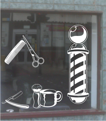 BARBERS SHOP FRONT VINYL STICKER FULL SET DECALS