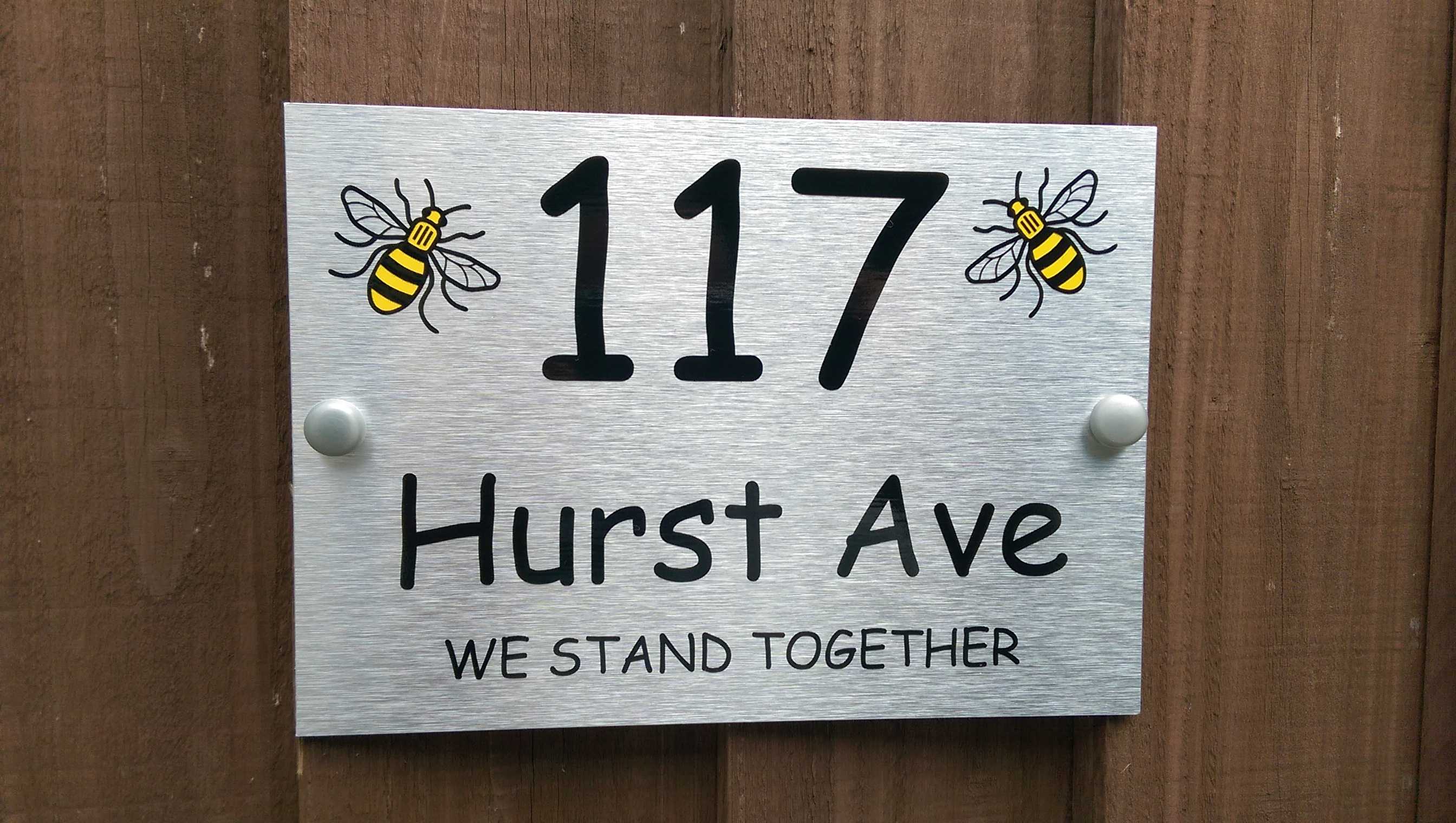 Manchester Bee House Plaque Personalised Name or Number