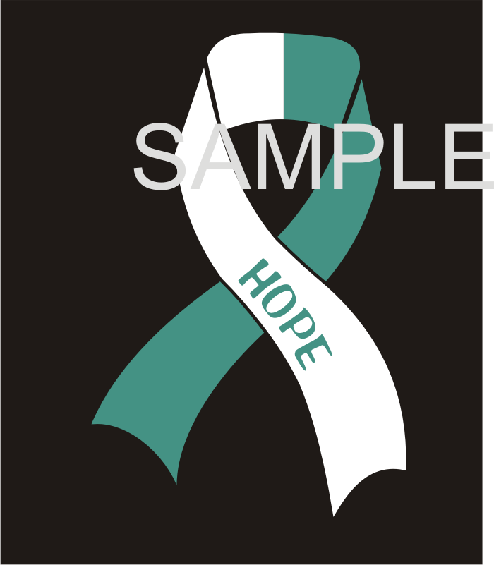 Teal/White Cancer Awareness Ribbon Vinyl Sticker, New Design - Click Image to Close