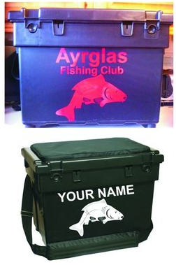 FISHING TACKLE BOX WITH YOUR NAME+FISH-DECAL/STICKER/SEATBOX