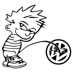 Boy Peeing On VW Sticker