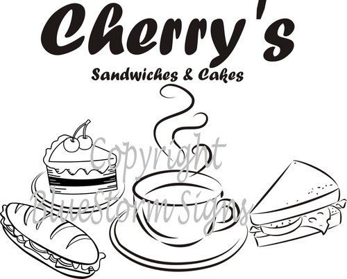 CAKE COFFEE SANDWICH SHOP SIGN DECAL SET