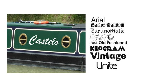 Canal Barge Boat Yacht Vinyl Name Sign Decals