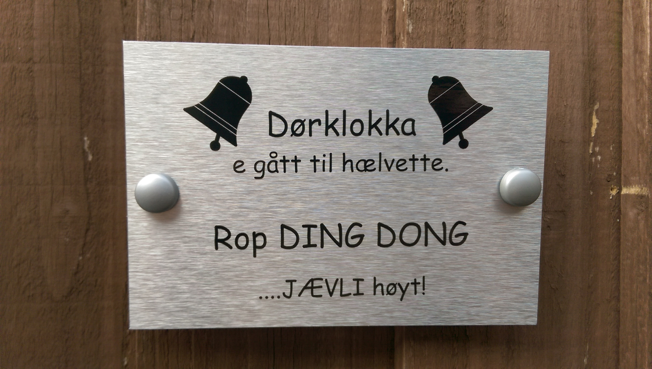 Norwegian Doorbell Broken Plaque Please Yell DING DONG