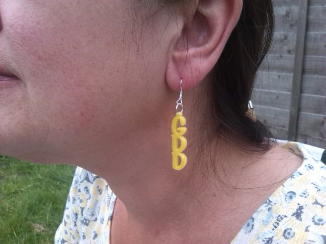 GDD awareness yellow hoop earrings