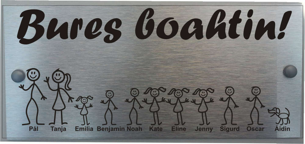 Large Norwegian Door Plaque Personalised Stick Family House Name