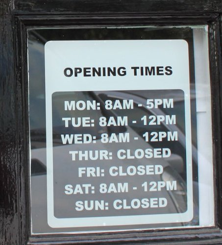 RESTAURANT CAFE SHOP OPENING HOUR TIMES SIGN DECAL