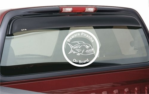 Beware Piranha On Board Fishing Car Bike Sticker Decal