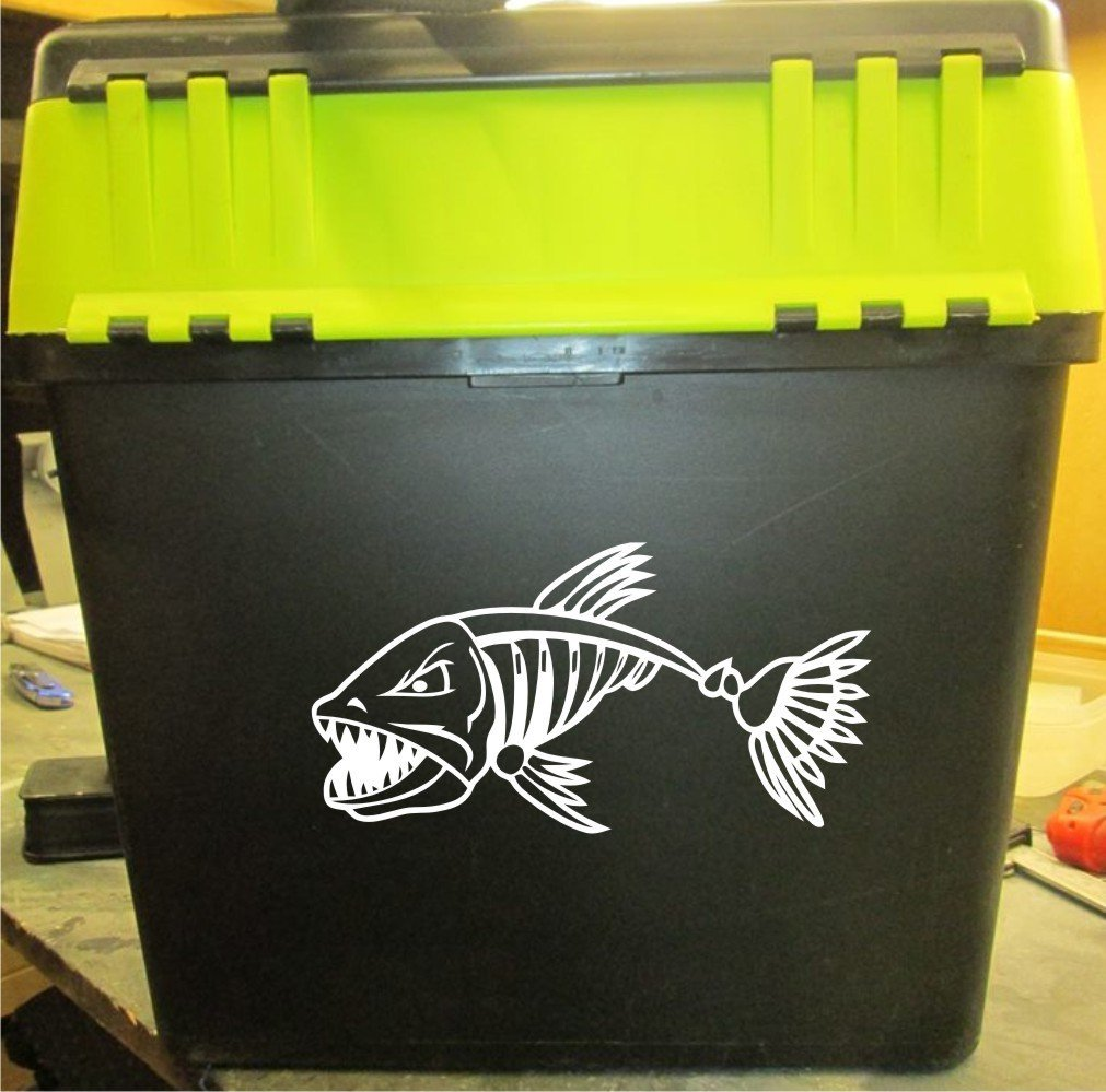 "2 X Fishing Skeleton Decal For Your Seatbox 10"" X 5.1"" approx"