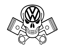 Skull & Pistons VW Sticker