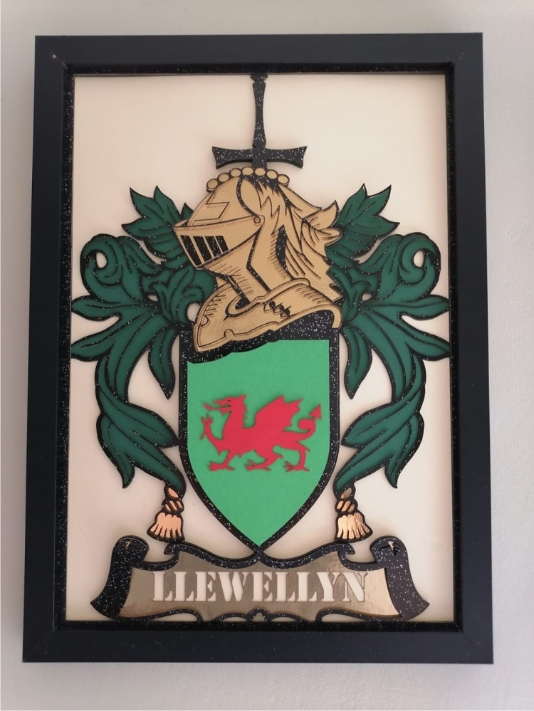Coat of Arms Laser Cut from Multi Layered Quality Card A4 Framed