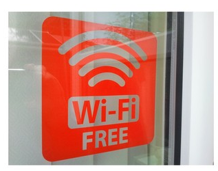 "4x152mm x 152mm ""FREE WIFI"" SHOP CAFE WINDOW SIGN STICKER NO2"