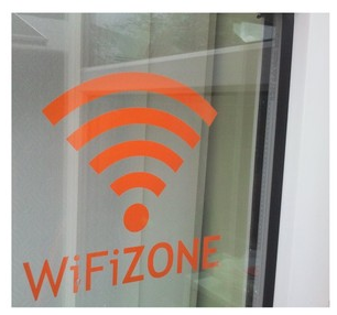 "WIFI ZONE"" SHOP SIGN STICKER 4x 161mm x 150mm no3"