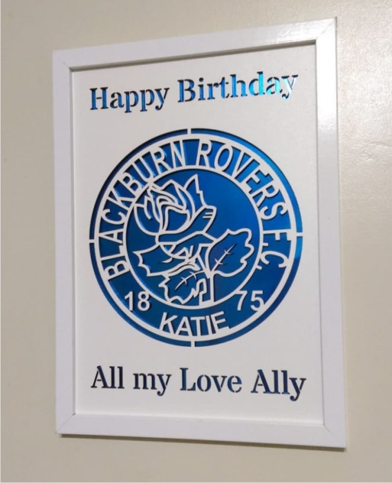 PERSONALISED BLACKBURN BIRTHDAY PHOTO LASERCUT FRAME IDEAL GIFT